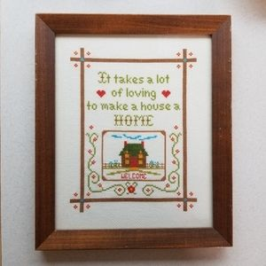 Vintage Cross Stitch Welcome Home Frame